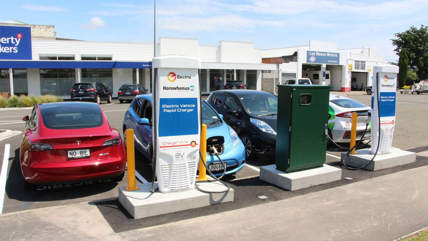 Electric cars at a charging station. File photo: NZME