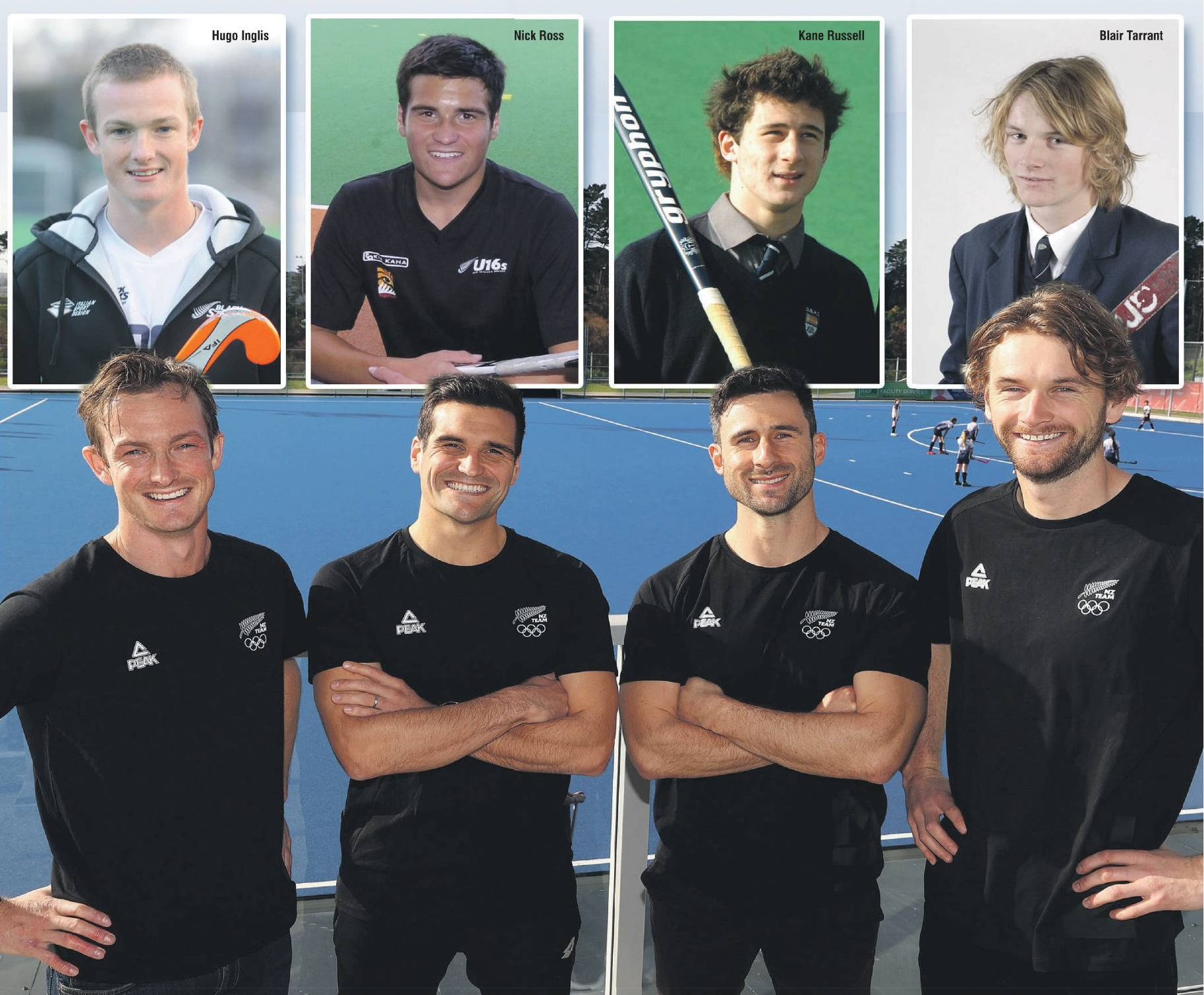 Hugo Inglis, Nick Ross, Kane Russell and Blair Tarrant in Auckland yesterday after being named in the Black Stick Olympics squad. Photo: Getty Images