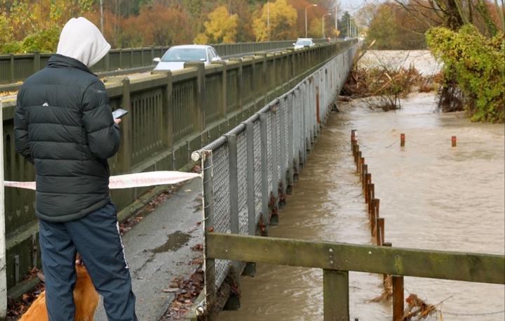 A closed footbridge across the Ashburton River. Photo: RNZ
