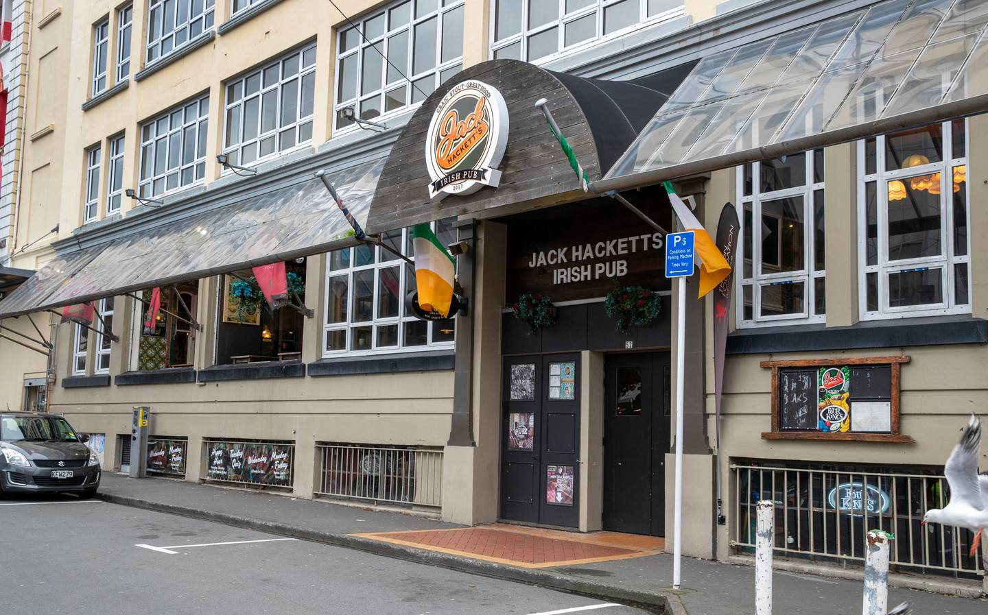 Jack Hackett's Irish Pub in Wellington was open to screen a football game early today. Photo: NZ...