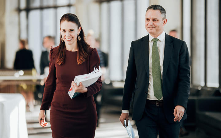Prime Minister Jacinda Ardern and Climate Change Minister James Shaw. Photo: RNZ