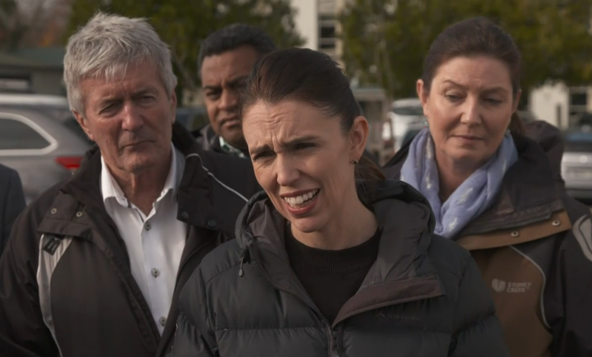 Agriculture Minister Damien O'Connor (left) with Prime Minister Jacinda Ardern (centre) and other...