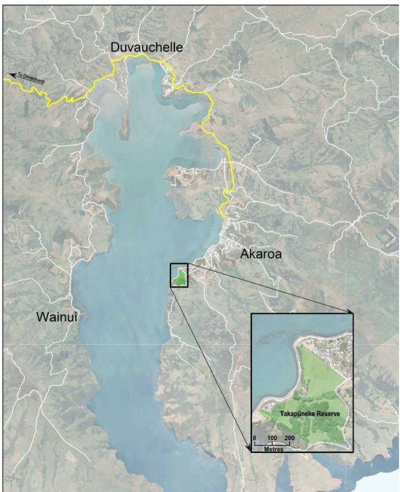 The location of Takapuneke on Akaroa Harbour. Credit: CCC