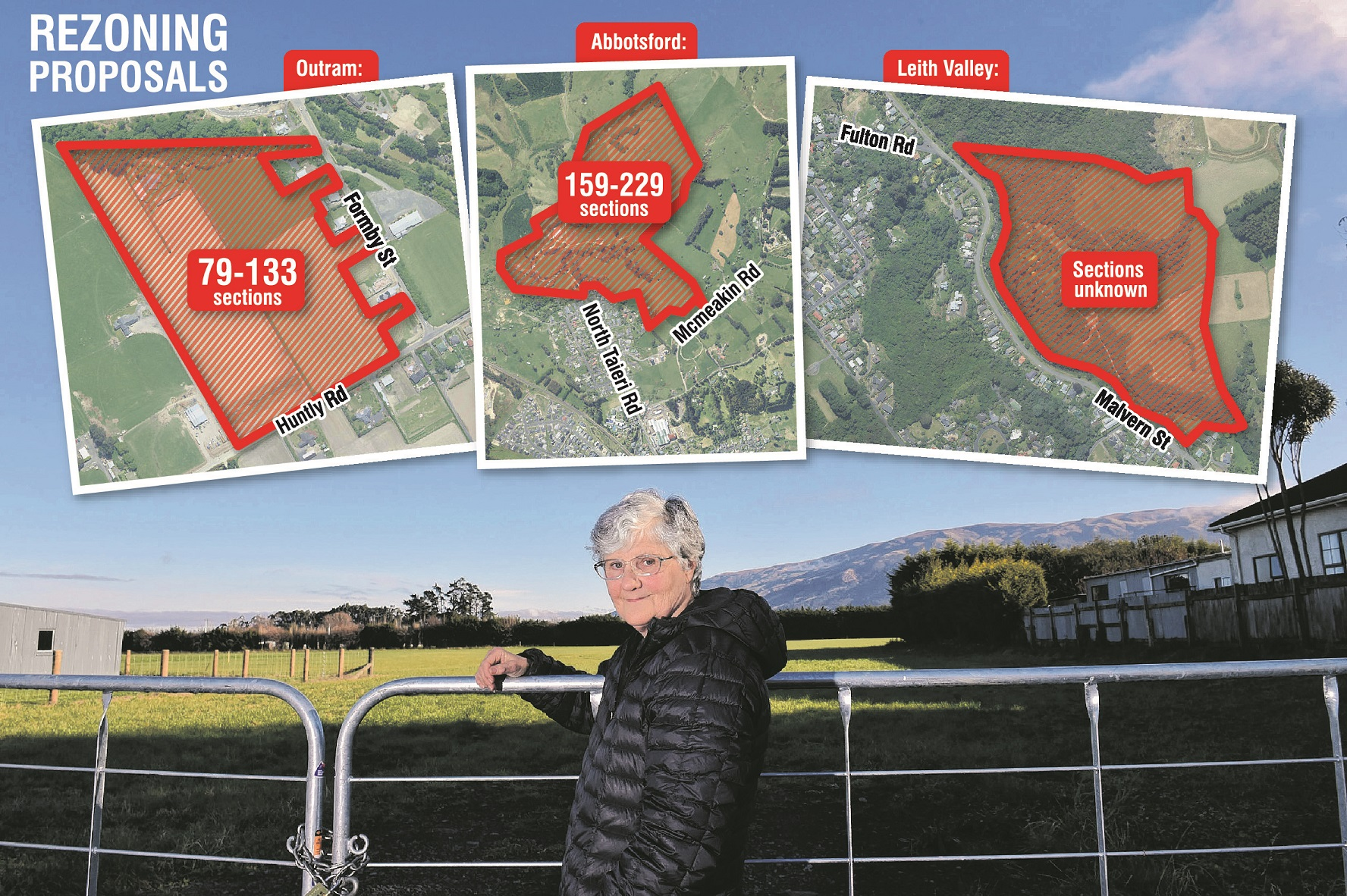 Outram resident Margaret Henry stands in front of the land for a proposed subdivision. Inset:...