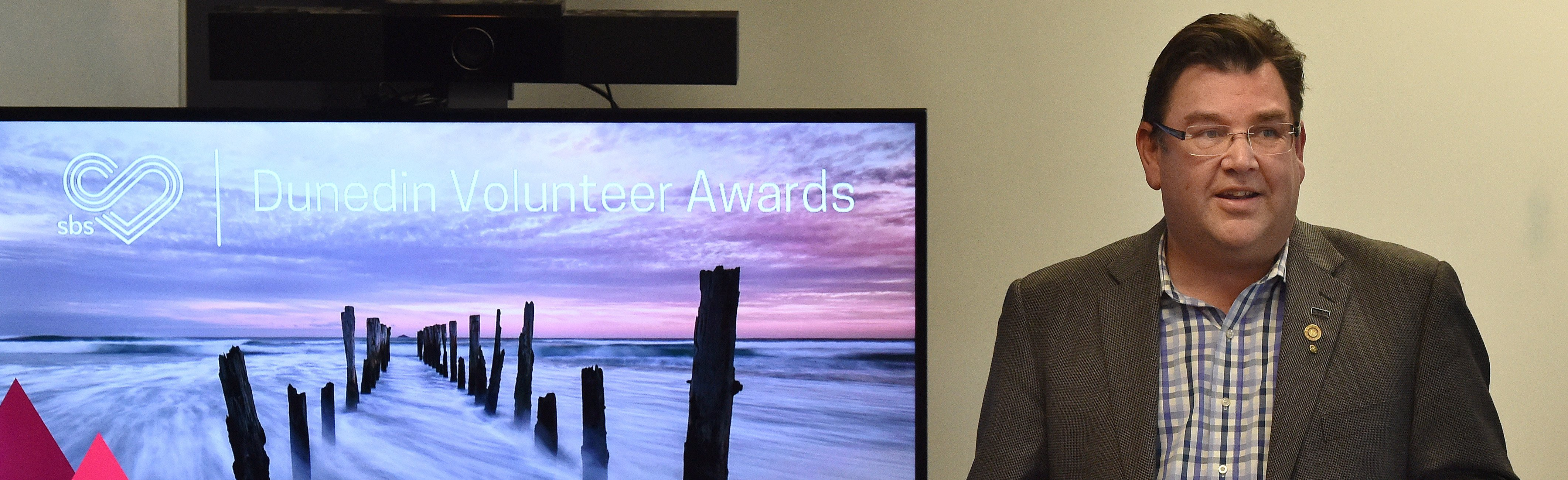 Volunteer South board chairman Andrew Whiley announces the volunteer awards. PHOTO: GREGOR...