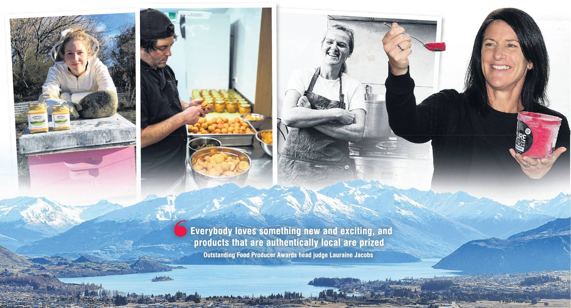 Wanaka food producers (from left) Jessica Curtis, of Branch Creek Honey, Gus Hayden, of Augustines of Central Otago, Tineke-Maree Sutton, of Taste of the Alps, and Anna Howard, of Pure New Zealand Ice Cream. PHOTOS: SUPPLIED