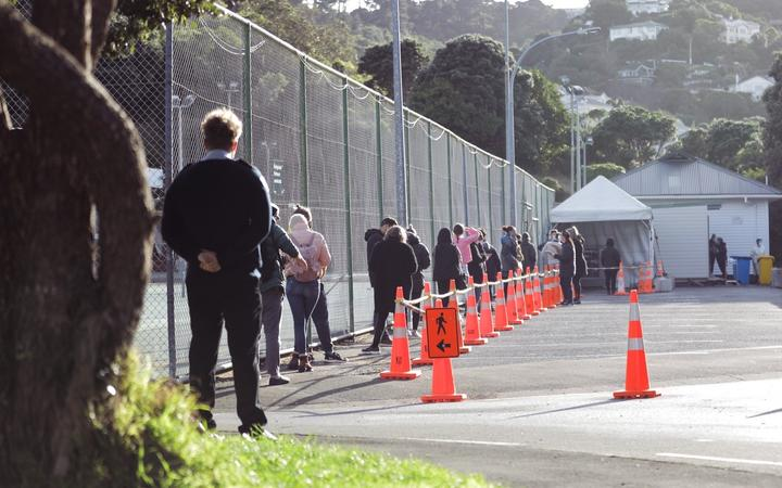 People waiting for Covid-19 testing in Hataitai Park in Wellington. Photo: RNZ