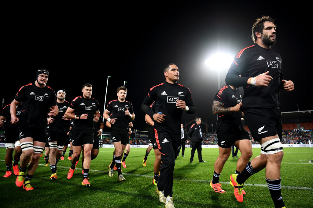 All Blacks captain Sam Whitelock (right) leading the team at a recent test against Fiji.  AIG's...