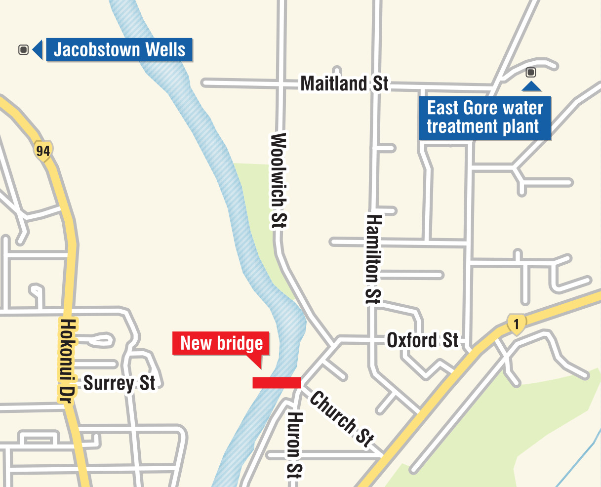 The Gore District Council wants to use the new bridge to pump water between the two points.