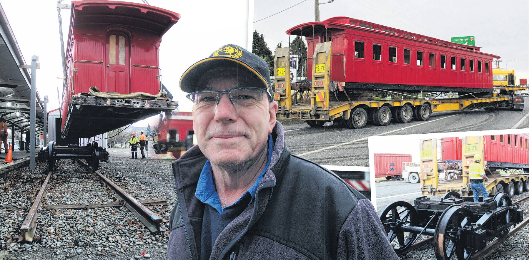 The railway carriage A199, recovered from Wairio, in Western Southland, last year, is delivered to its new home at the Lumsden Railway Precinct yesterday. Lumsden Heritage Trust chairman John Titter says it was an exciting day for all those who had helped