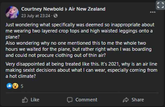 Newbold left a public complaint on Air New Zealand's Facebook Page. Photo: Supplied