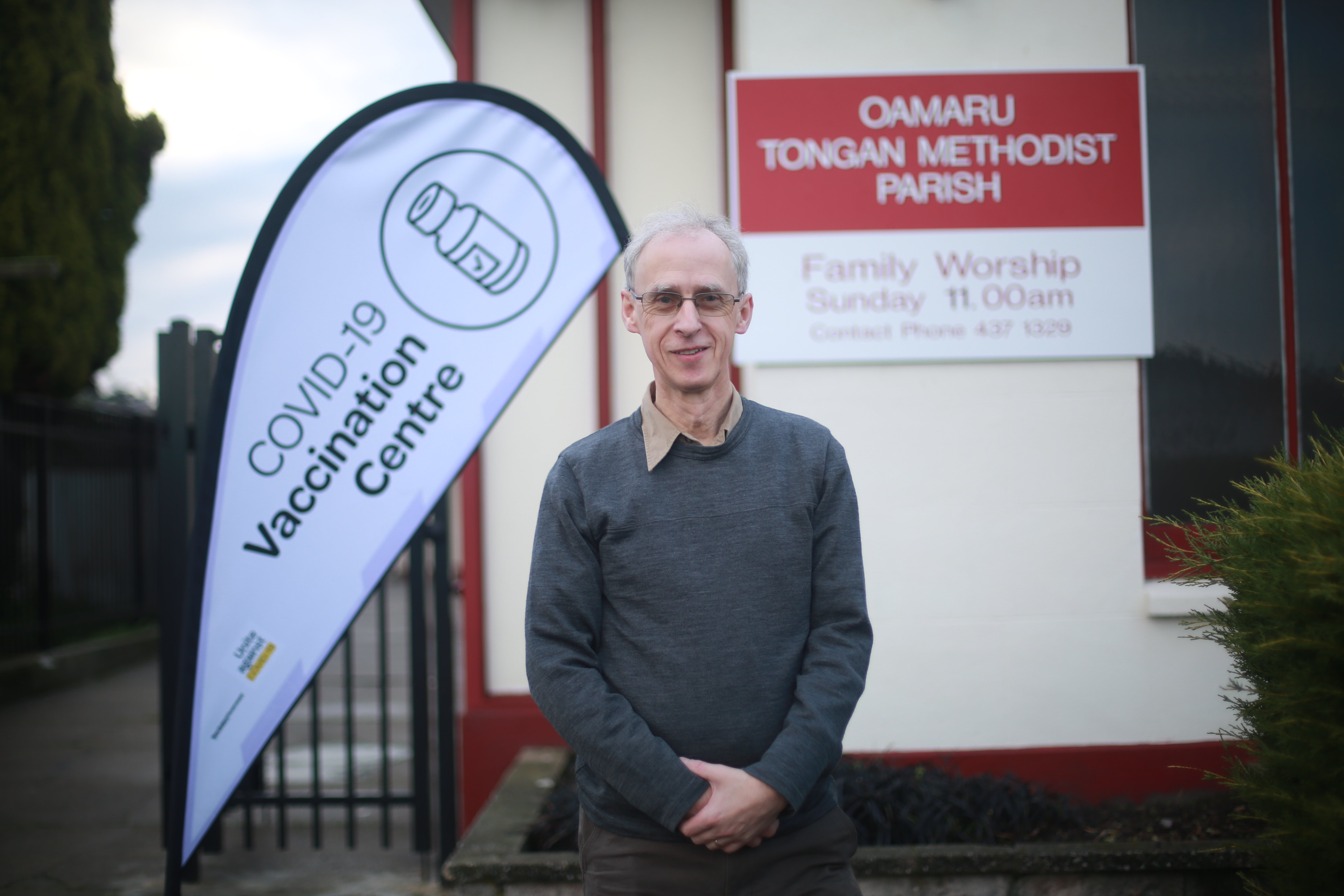Dr Jon Scott, standing outside Central Medical's new Covid-19 vaccine clinic in Eden St, is...
