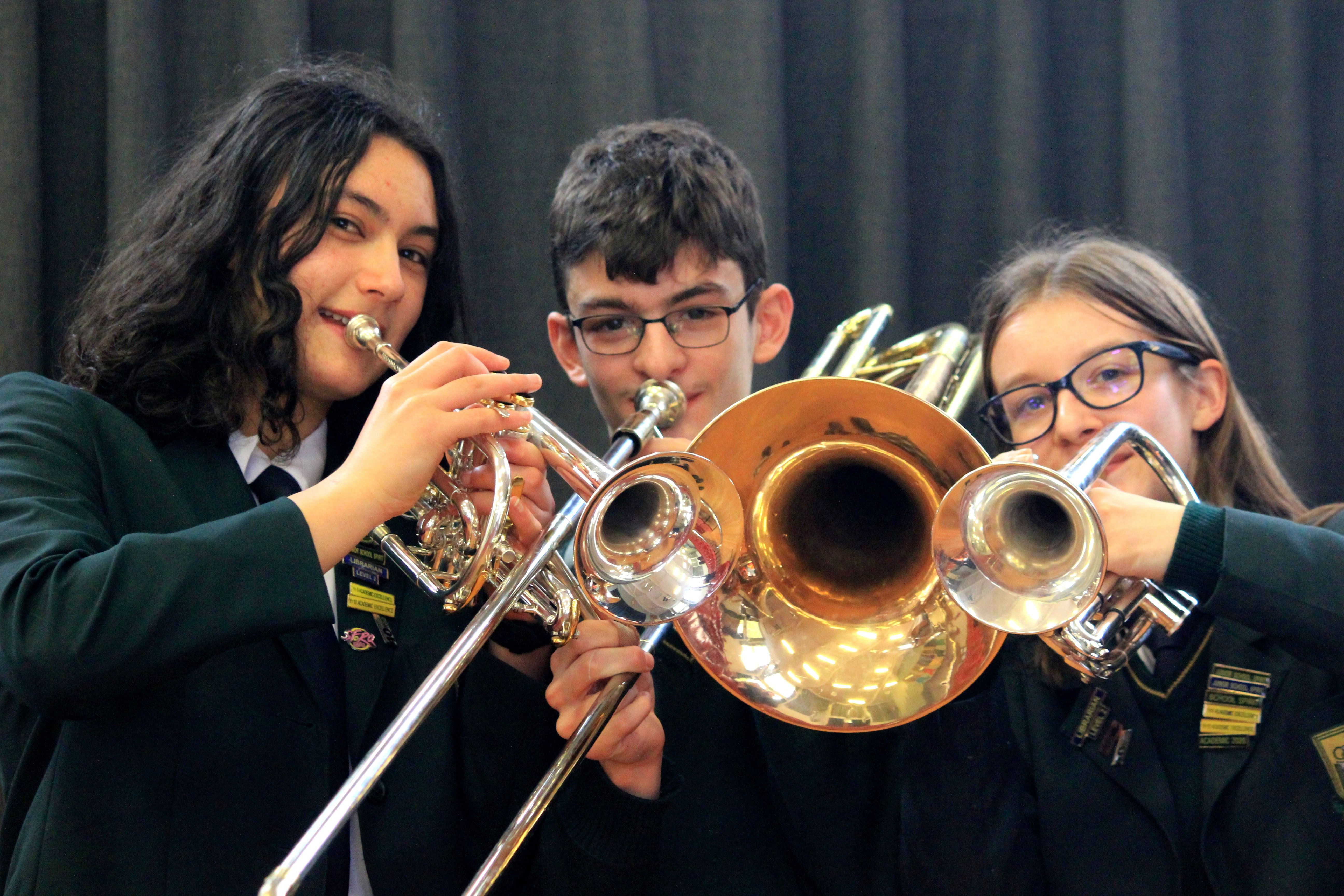 Perfecting the art . . . Making music are (from left) Bayfield High School pupils Mei Admiraal ...