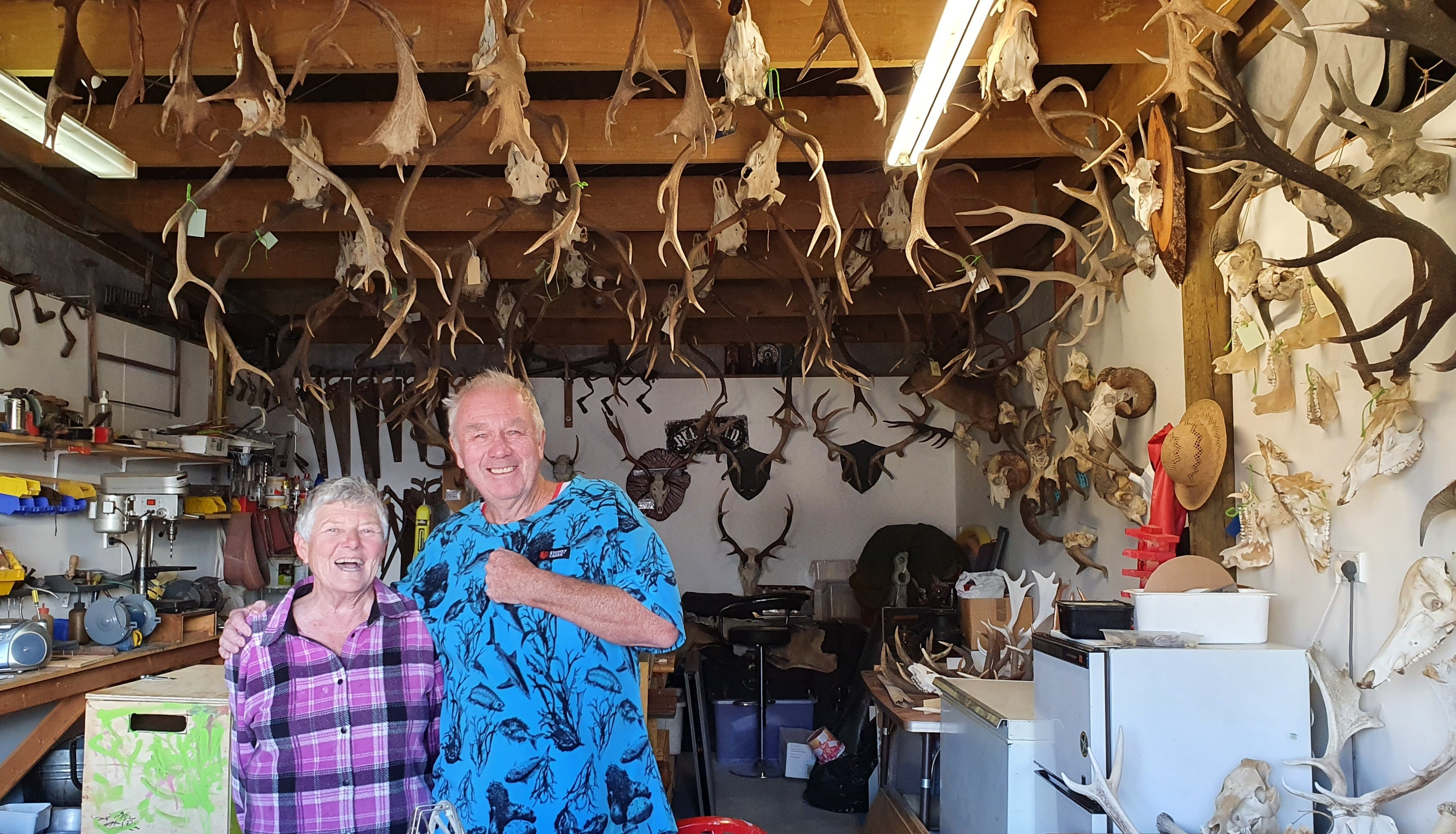"""Malcom and Jenny Mitchell have spent 40 years trophy hunting together. Who's the best shot? """"I..."""