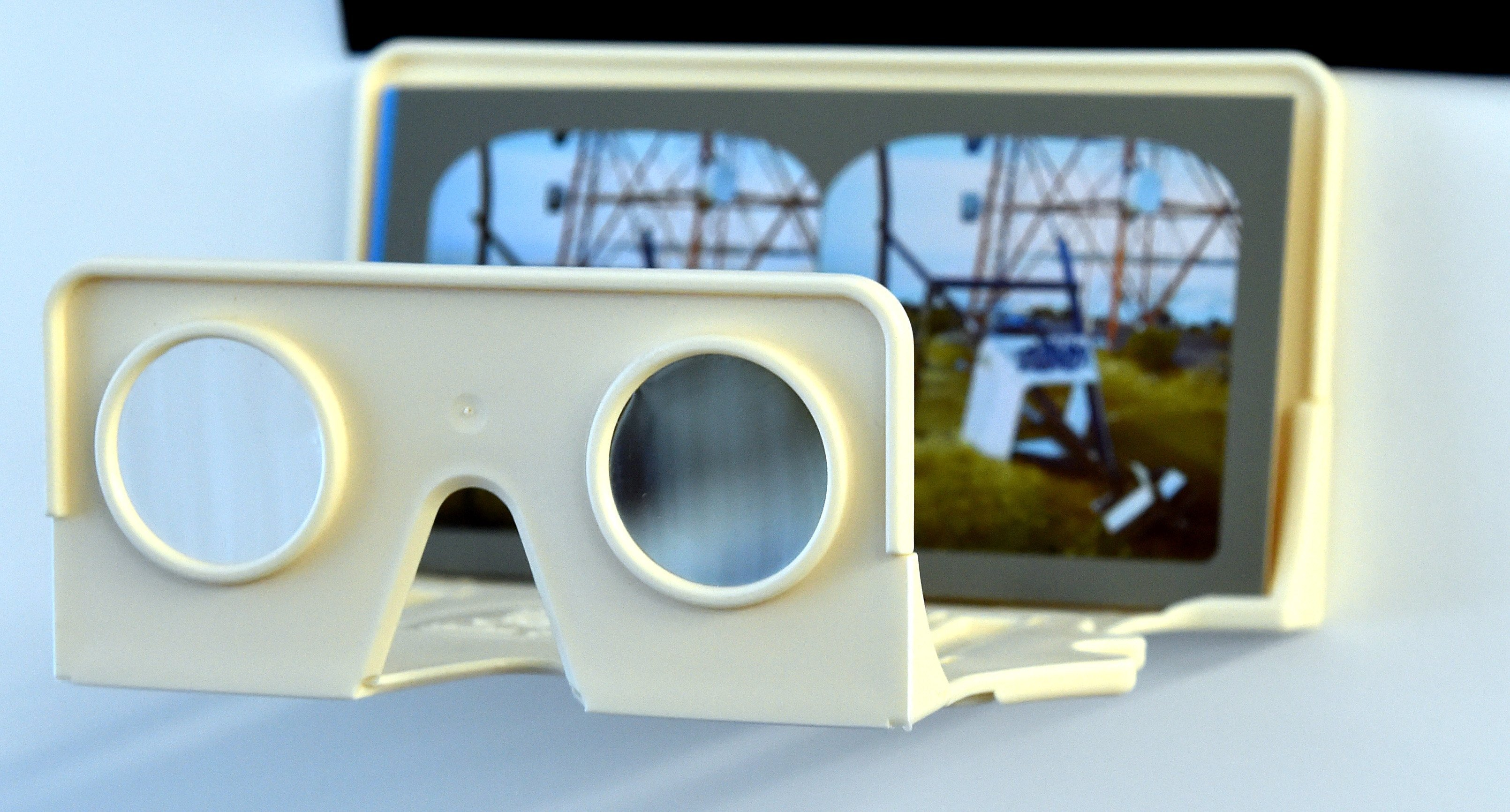 A trig station Reweti photographed using a stereoscopic camera, that is viewed through glasses.