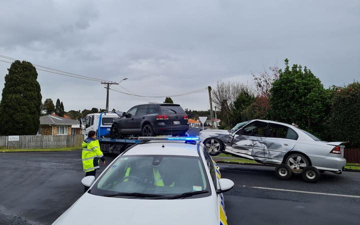 Damaged vehicles after the incident in Papakura today. Photo: RNZ