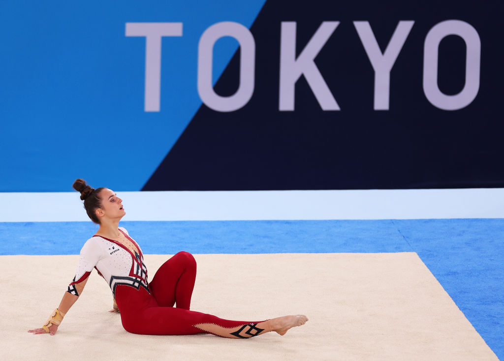 Germany's Pauline Schaefer-Betz wears a fulllength ''unitard'' while competing in the artistic...