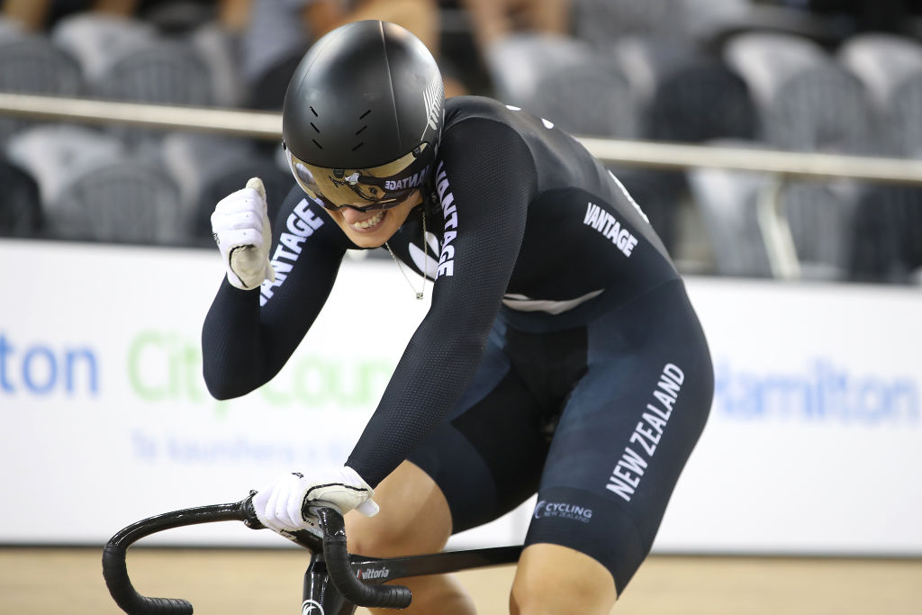 Olivia Podmore of New Zealand celebrates gold in the Womens Team Sprint with Natasha Hansen during the Cambridge UCI Track World Cup at the Avantidrome on December 06, 2019 in Cambridge, New Zealand.