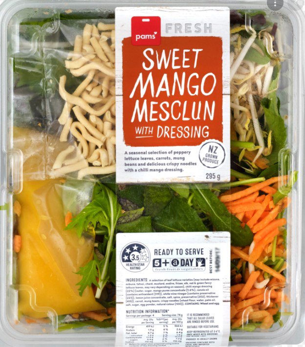 The Pams brand Sweet Mango Mesclun With Dressing (295g) has been recalled. Photo: MPI