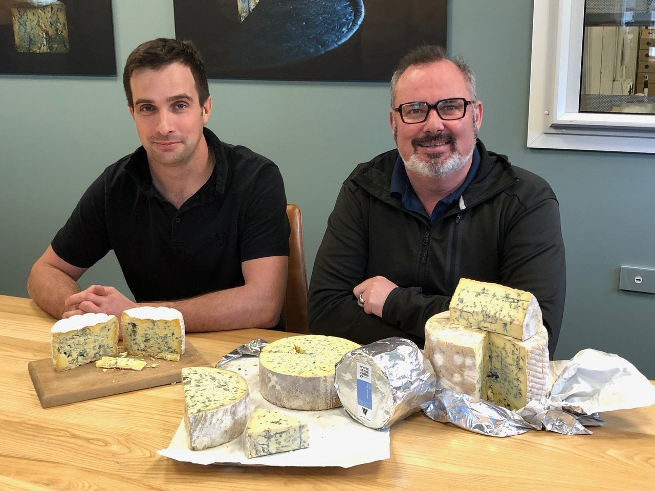 Chris Moran (left) and Simon Berry with their blue cheeses — Windsor, Shenley Station and Oamaru...