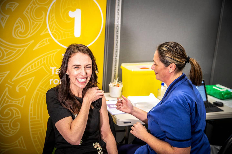 Jacinda Ardern gets her second Covid-19 vaccination from nurse Gordana Nezich in July. Photo: NZ...