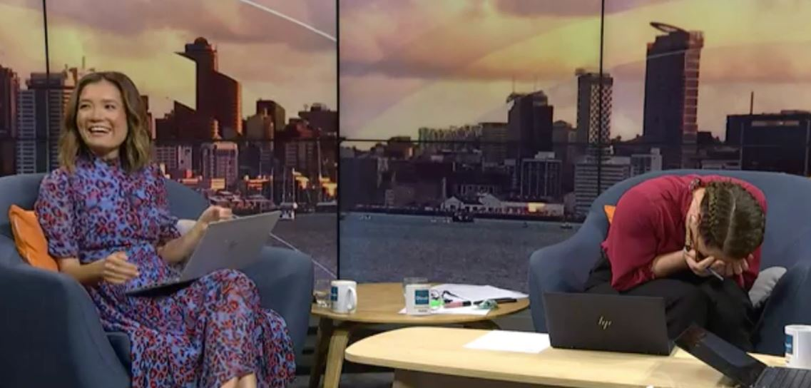 Jenny Suo and Jenny-May Clarkson were in fits of laughter. Photo: TVNZ