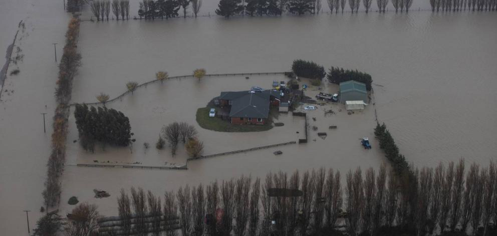 Severe flooding hit the Canterbury region mid-year. Photo: George Heard