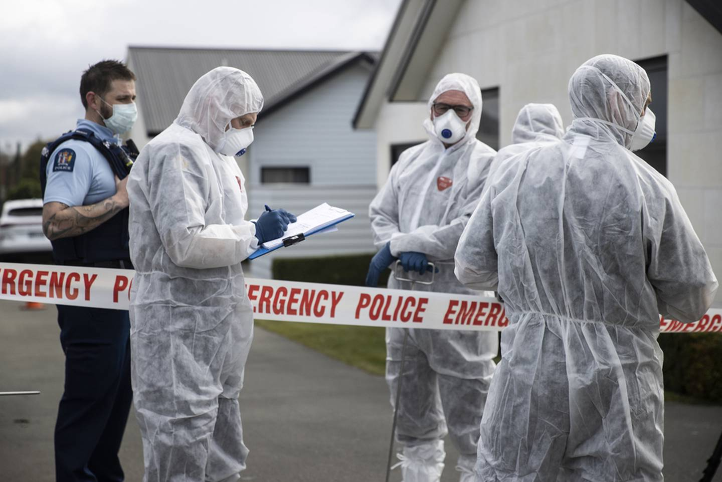 Police today at the scene of where three young girls were found dead in Timaru. Photo: NZ Herald