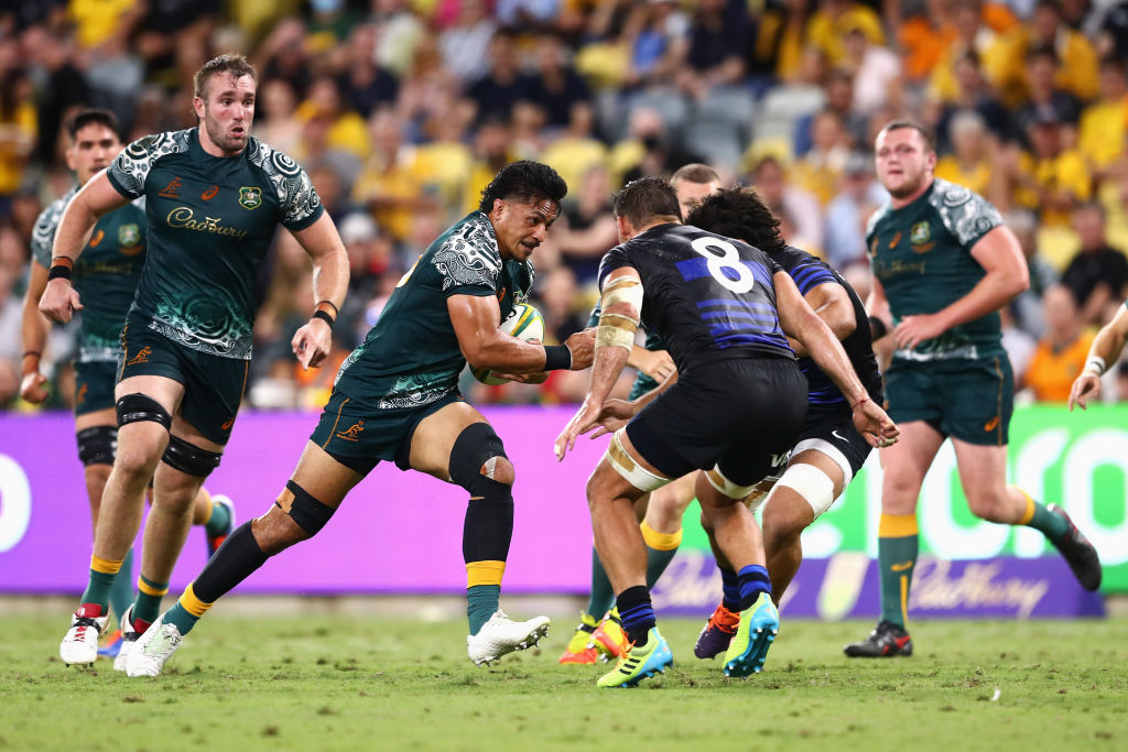 Pete Samu runs the ball up for the Wallabies against Argentina. Photo: Getty