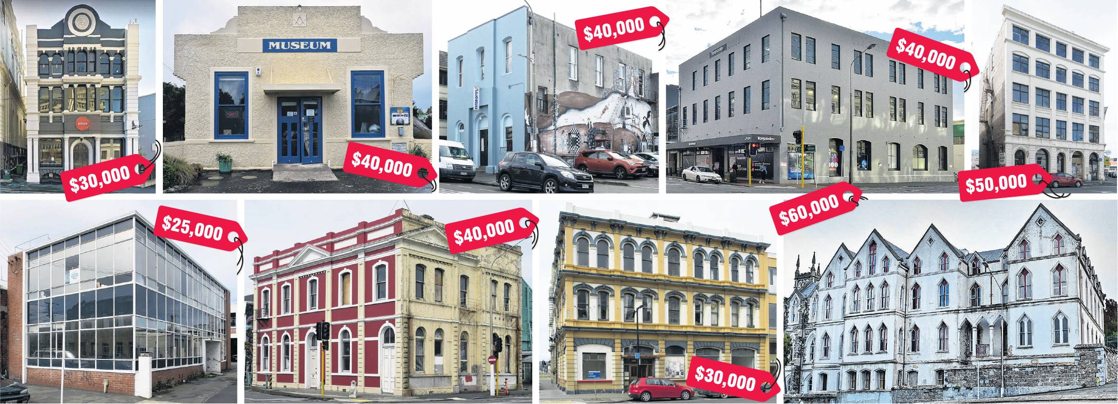 Top row, from left: Taimex Building, Middlemarch Museum, Playhouse Theatre, A&T Burt Ltd, McVickar's Building; bottom row from left: Waterfront Industry Commission Building, Otago Education Board Offices, Gillies Street and Hislop Building, St Dominic's P