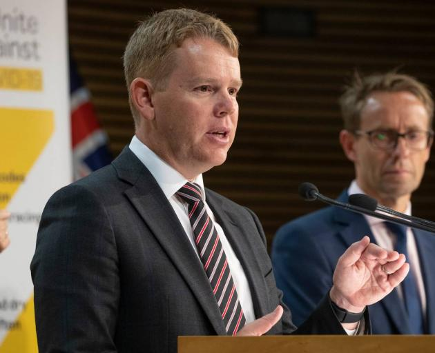 Covid-19 Recovery Minister Chris Hipkins (left) and Director-General of Health Dr Ashley...