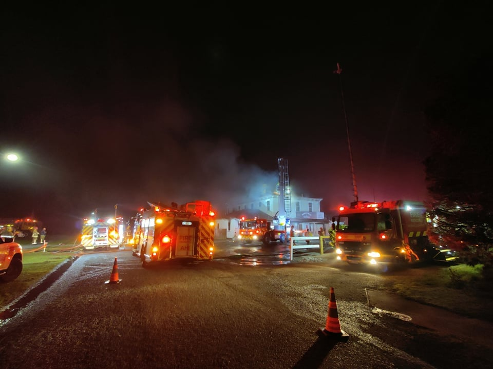 Five fire engines, a turntable ladder, a command unit and several tankers were at the fire. Photo...