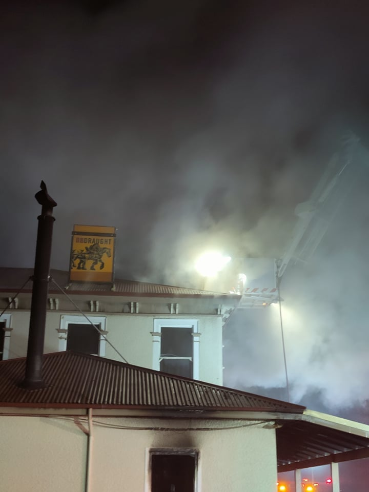 An electrical fault caused the blaze at the Sheffield Hotel. Photo: Sheffield Volunteer Fire Brigade