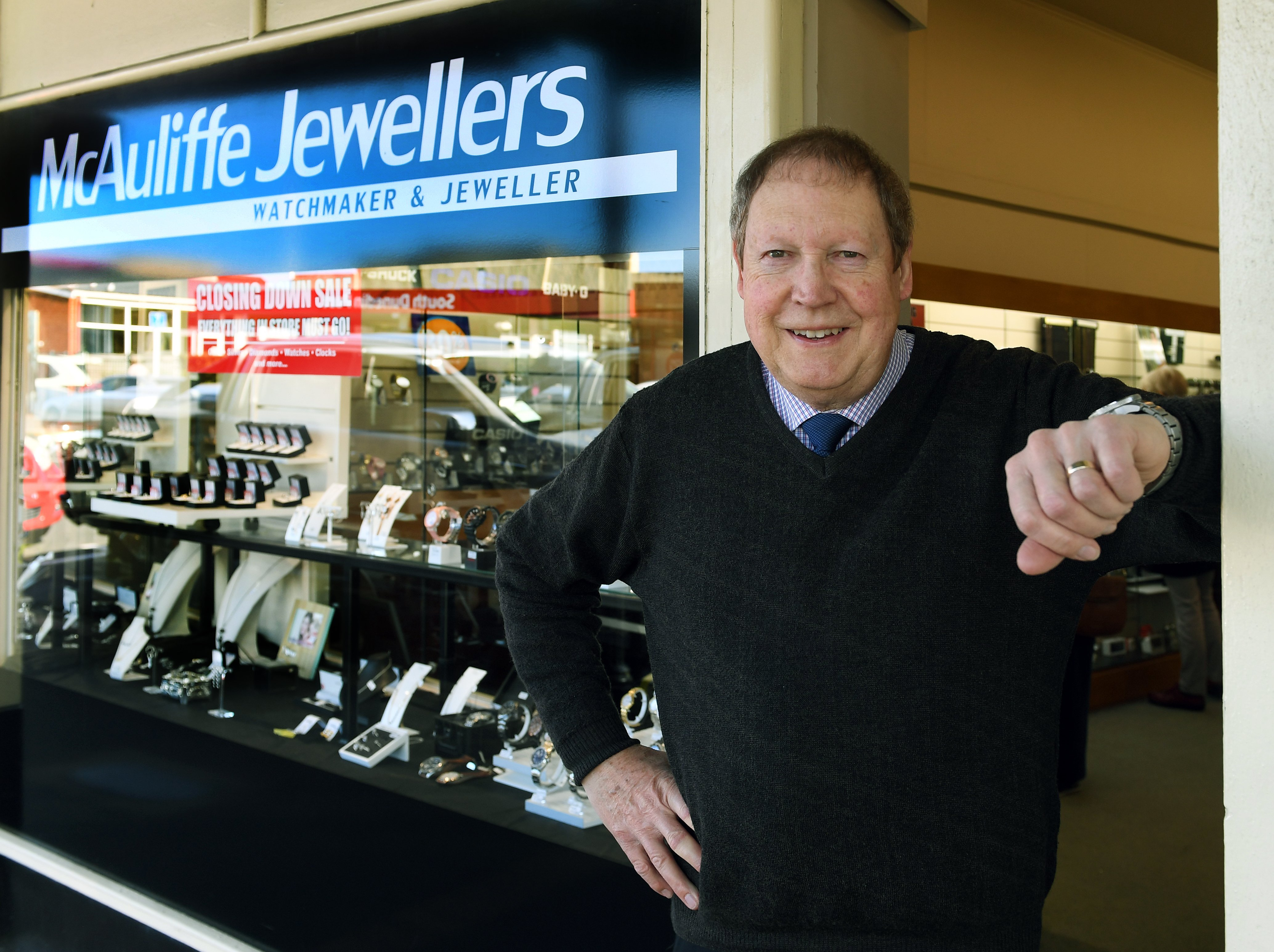 Dunedin jeweller and watchmaker Robert McAuliffe outside his shop, which will close at the end of...