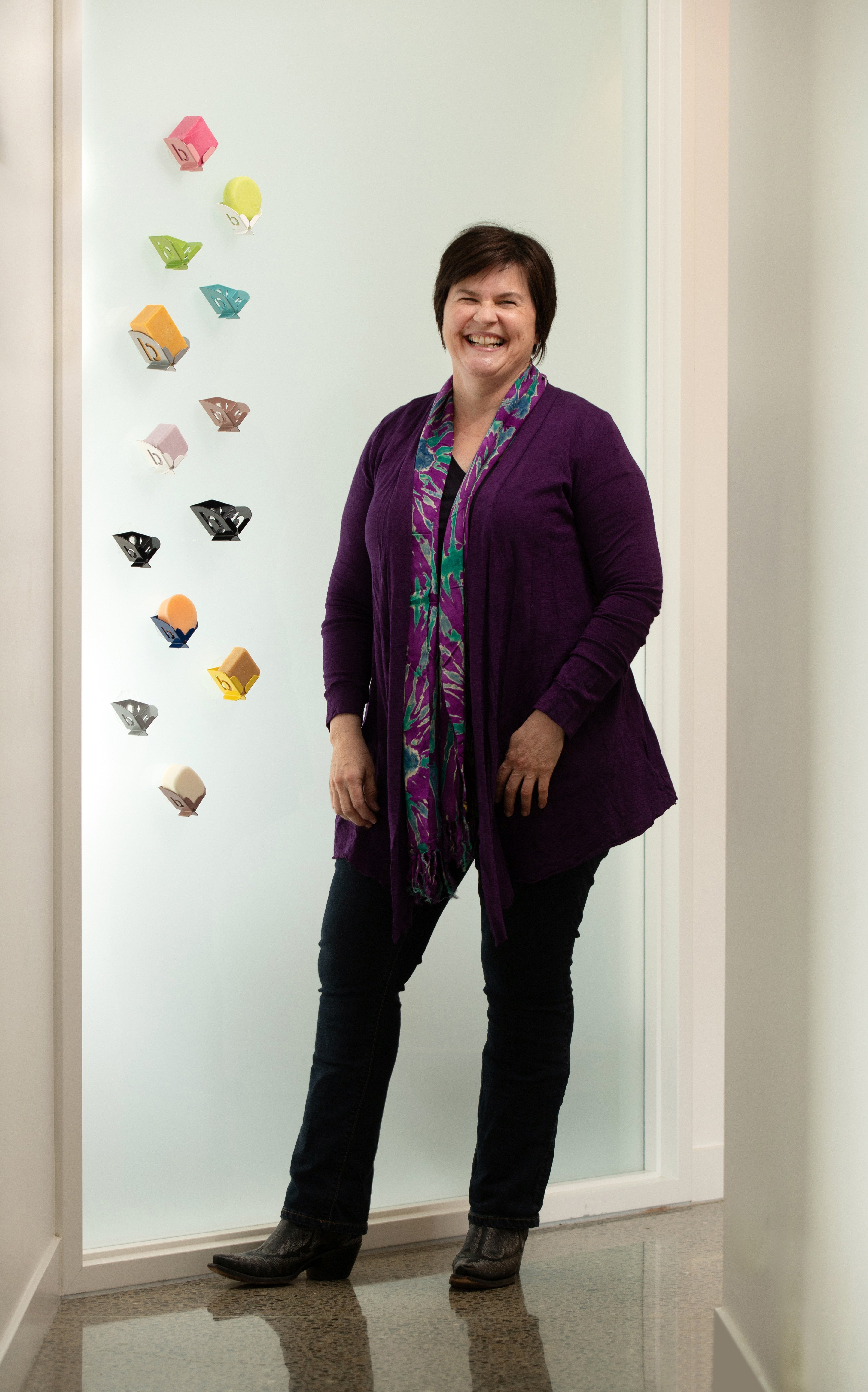 Former Dunedin woman Clare Wilson and the soap block holders she has designed. PHOTO: TIM CUFF