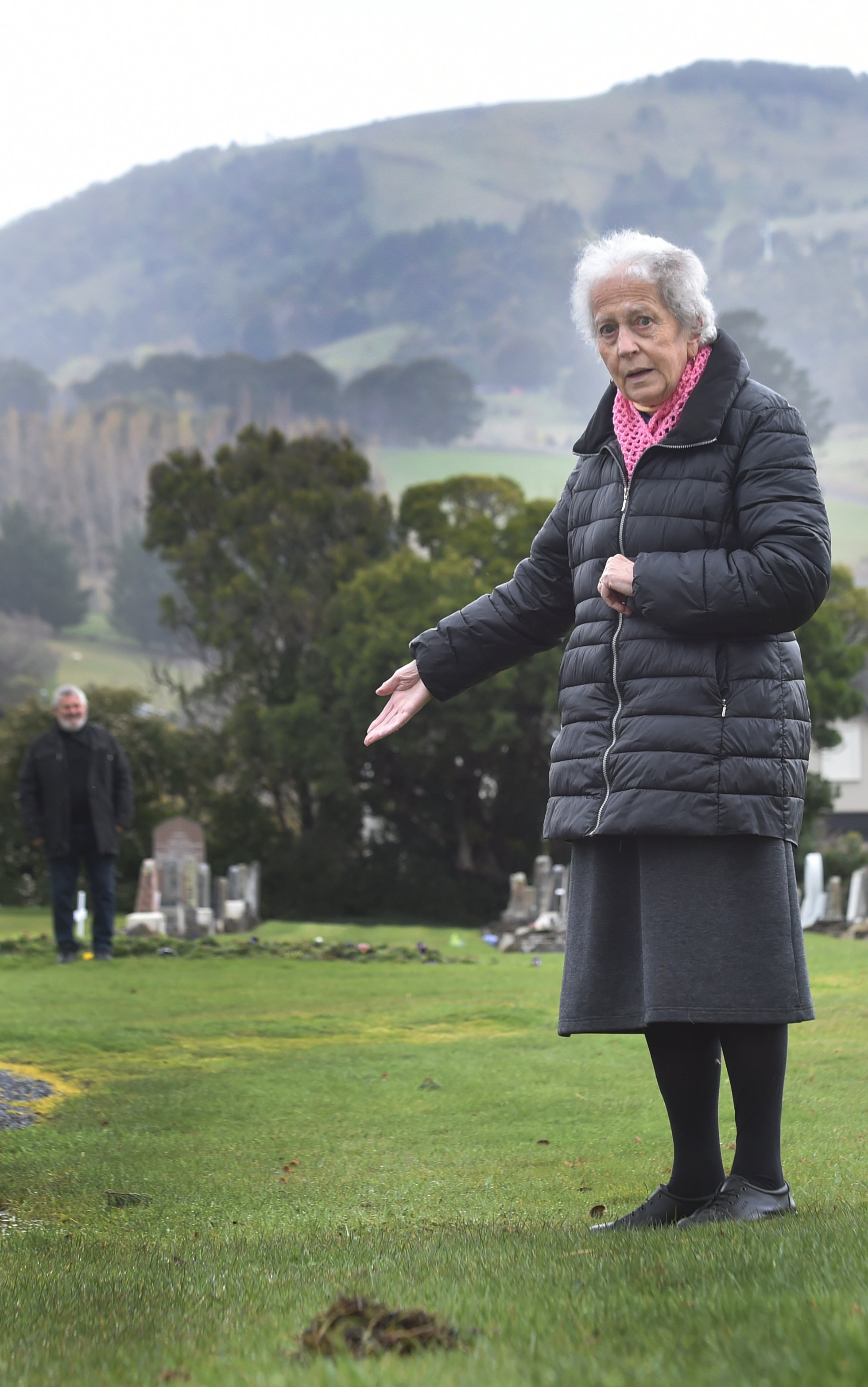 Mosgiel resident Margaret van Zyl (right) stands at the proposed location for a memorial wall at...