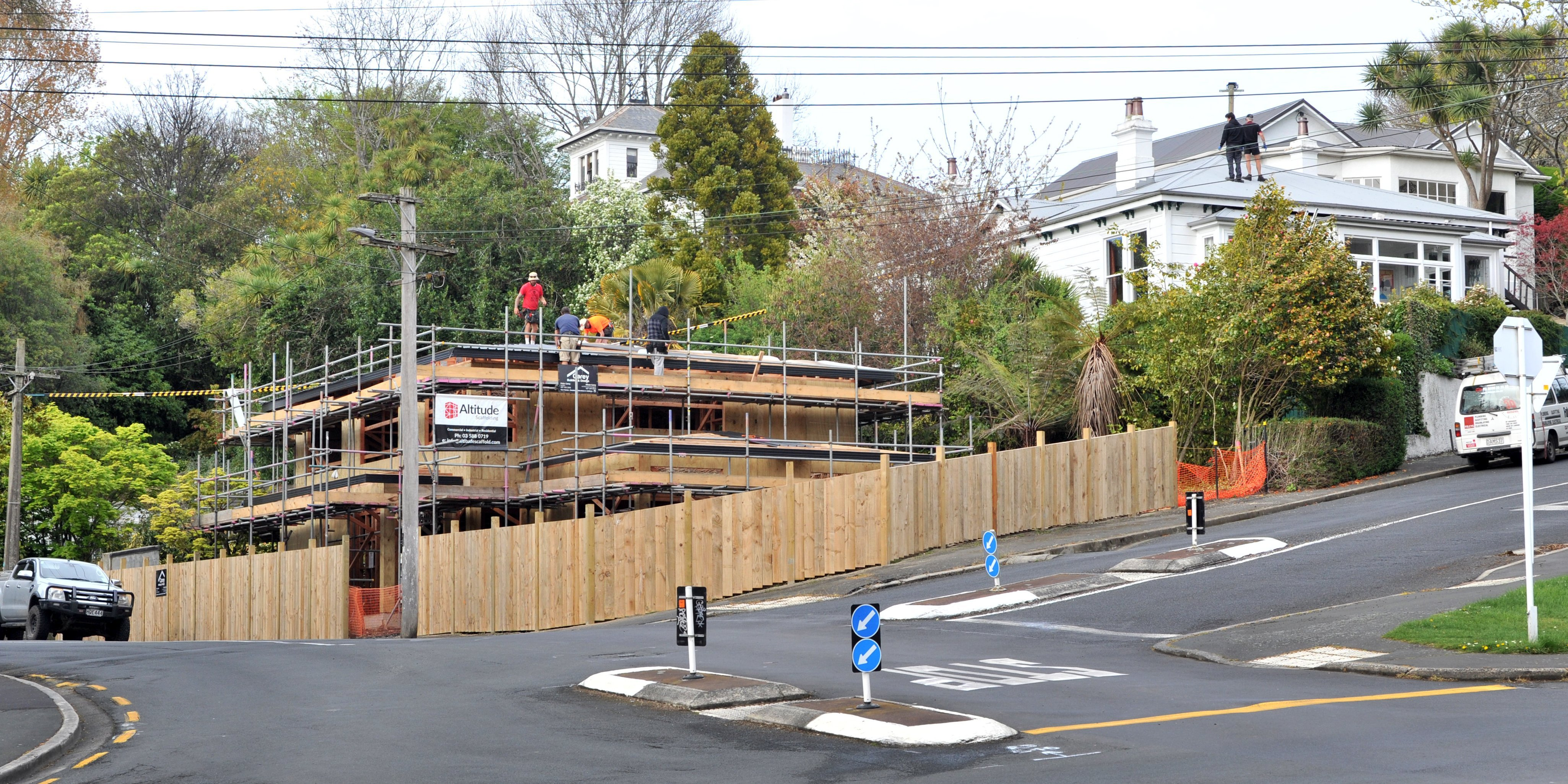Builders work on a new home on the corner of Meadow St and Queens Dr, in Mornington, last week....