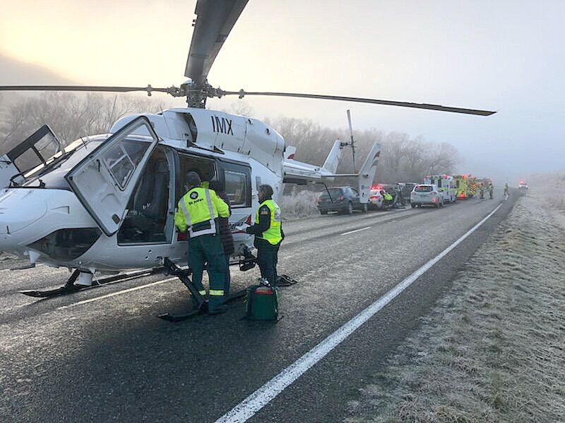 A Lakes District Air Rescue Helicopter at the scene of an accident near Mossburn in 2018. The...