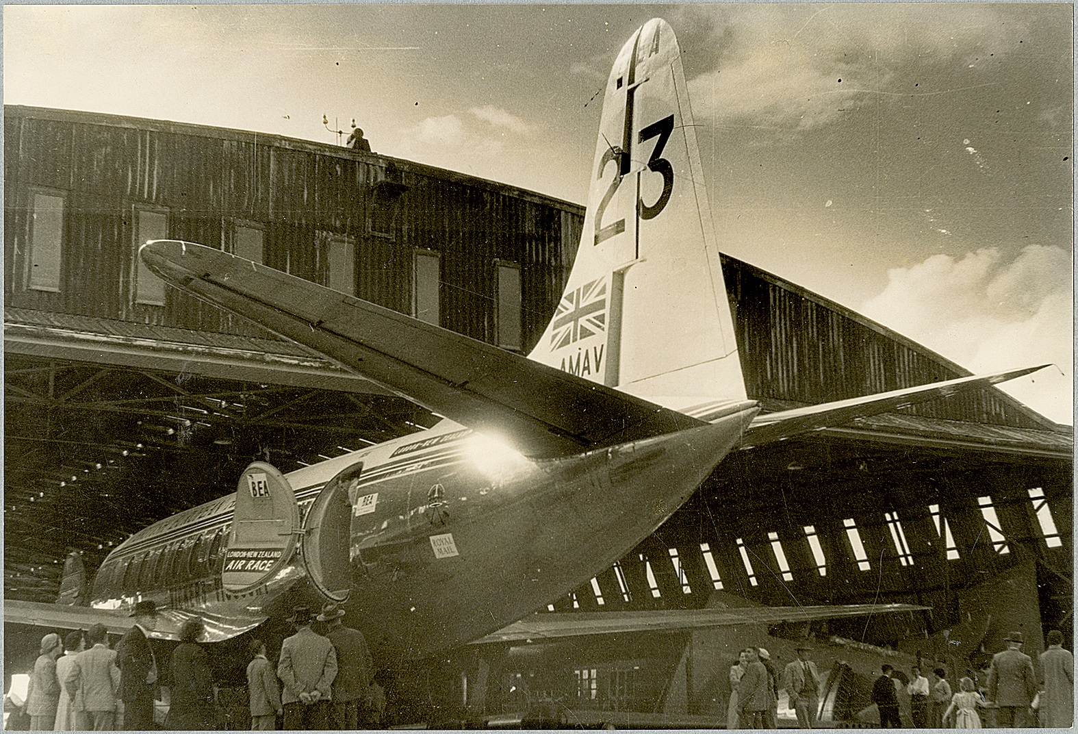 Crowds gather at Christchurch Airport to view the Vickers Viscount that flew here in the London...