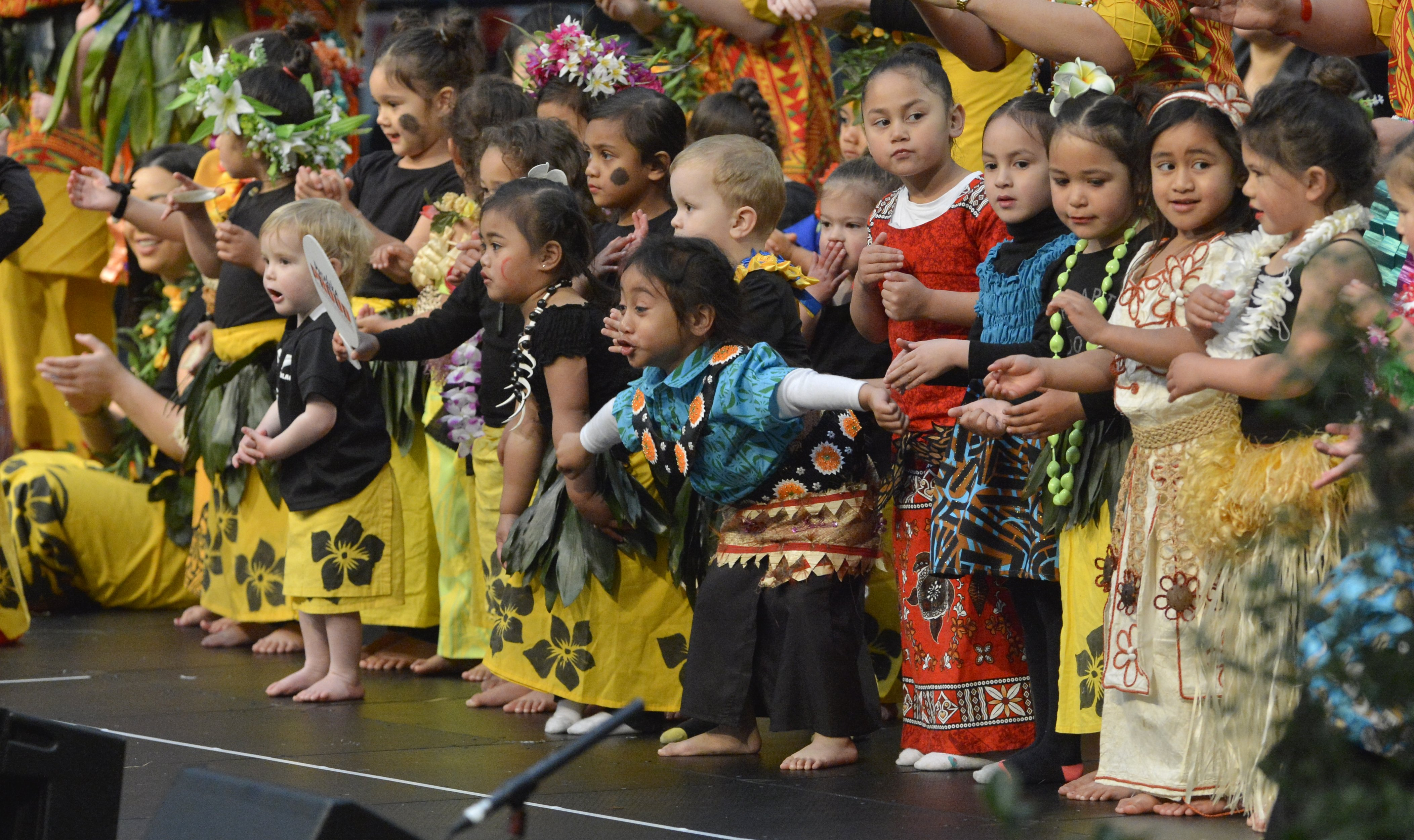 All together now . . . Children from Punavai Ole Atamai Preschool perform during the last day of...