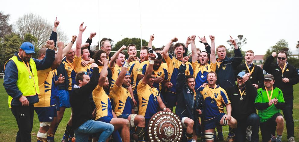 The Valley team celebrates after winning the Citizens Shield final on Saturday. PHOTOS: REBECCA...