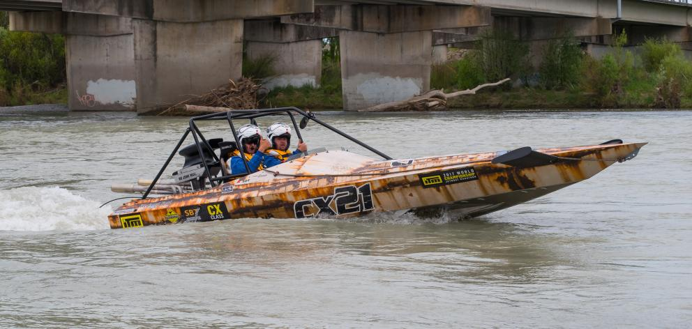 Duayne Insley and Dwayne Terry in action during the World Championship Jet Boat Marathon. Photo...