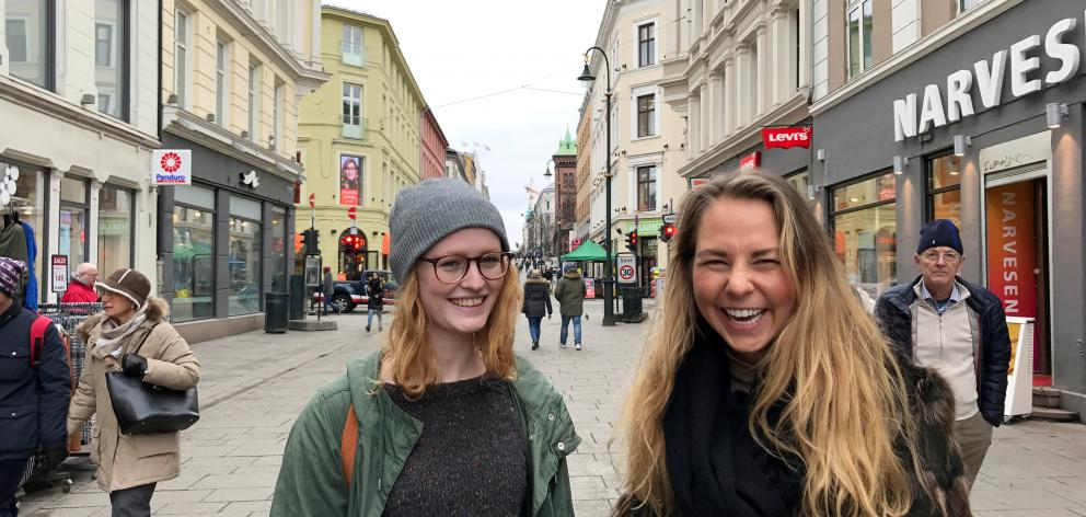 Karen Nerbo (left) with friend Kristina Davidsen says there's not much to complain about.  Photo: Reuters