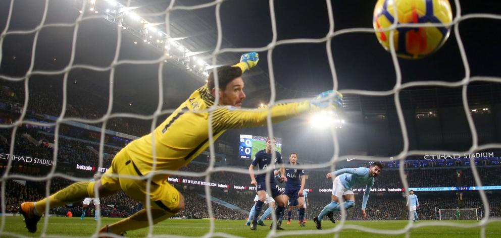 Manchester City's Ilkay Gundogan scores their first goal of four against Tottenham Hotspur on...