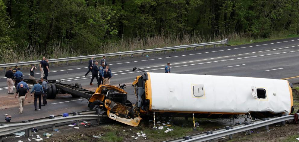 The bus was carrying 38 children and seven adults, including the driver. Photo: Reuters