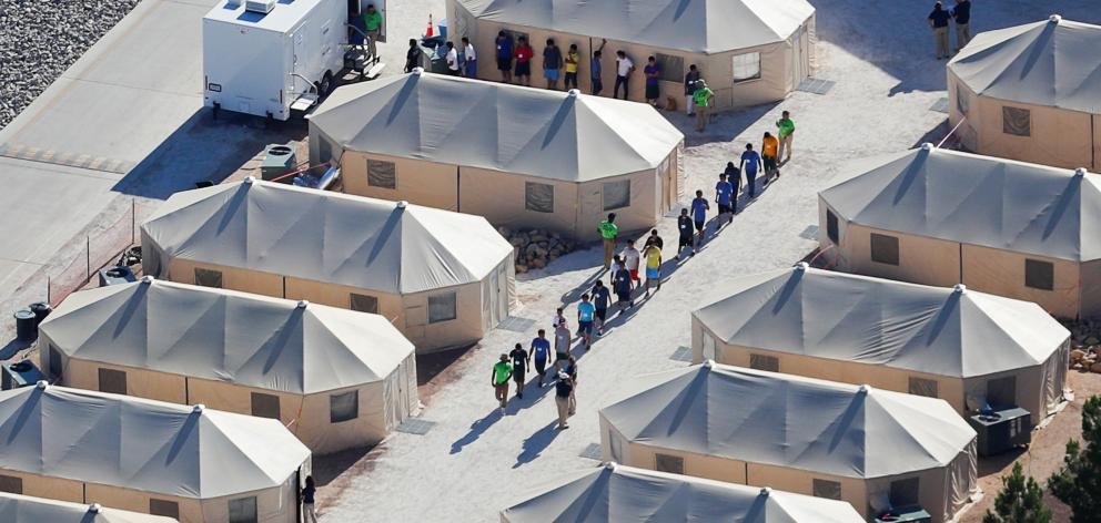 Under the policy, immigrant children were housed in a tent encampment in Tornillo, Texas. Photo:...