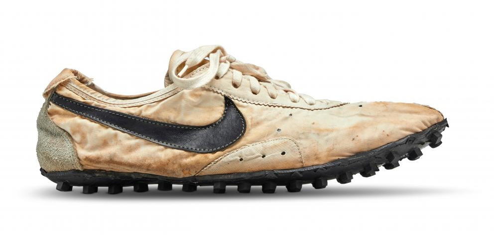 """The Nike """"Moon Shoe"""" is one of only about 12 pairs in existence. Photo: Courtesy Sotheby's via..."""