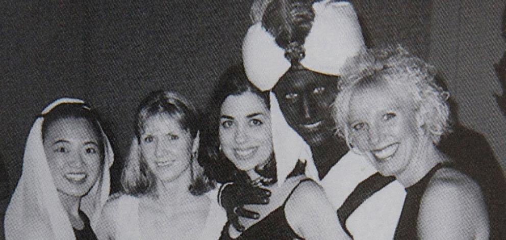 """Justin Trudeau with others at an """"Arabian Nights"""" party when he was a 29-year-old teacher in ..."""