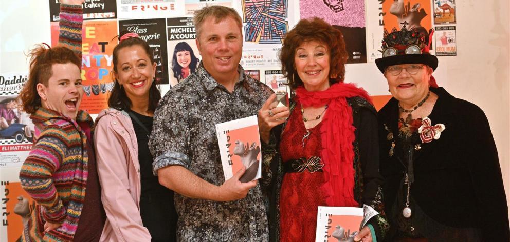 Attending the launch of the 2021 Dunedin Fringe Festival are (from left) volunteer Jasper Sole,...