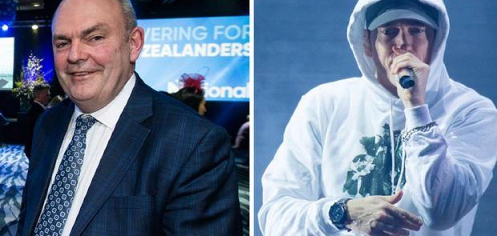 Former National MP Steven Joyce and Eminem. Image: NZ Herald/Getty